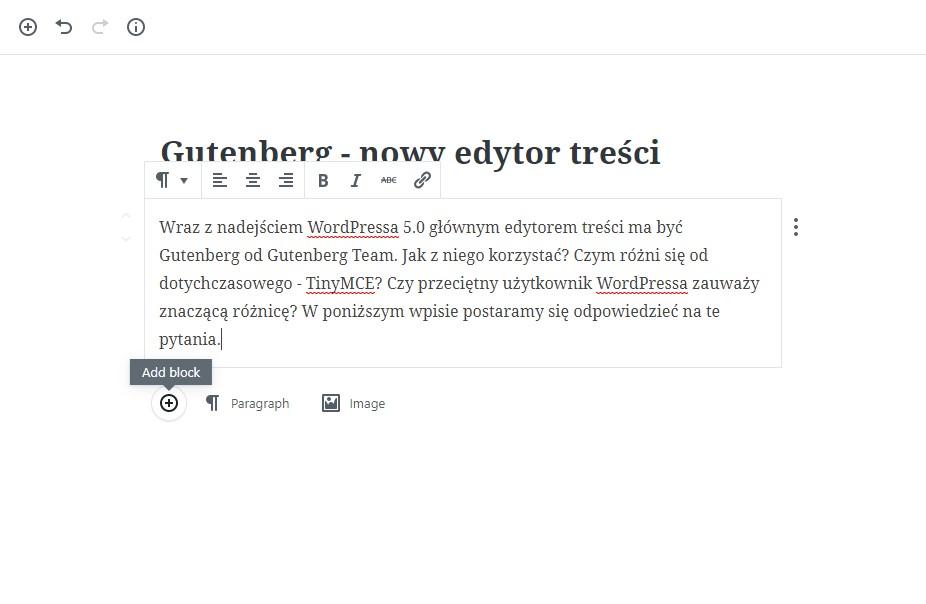 Edytor treści Gutenberg